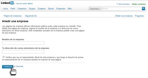 Añade el nombre y mail de empresa en Linkedin