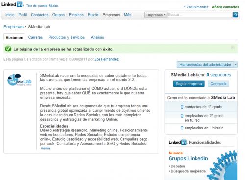 Página de empresa creada en Linkedin