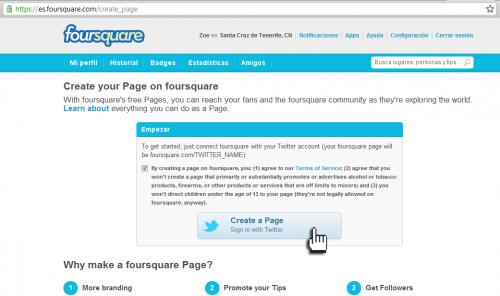 Condiciones creación empresas FourSquare