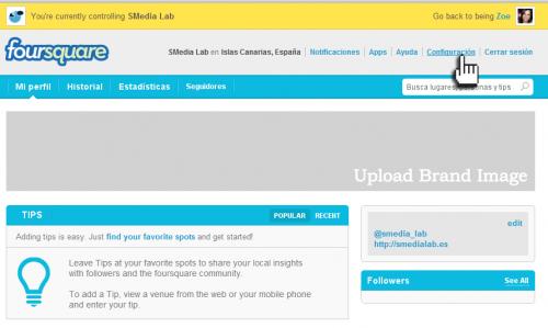 Empresas FourSquare - configuramos nuestra página de empresa