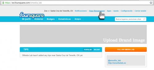Empresas FourSquare - Configuramos nuestra página