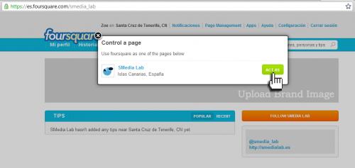 Empresas FourSquare - Nos identificamos como página para actuar como empresa