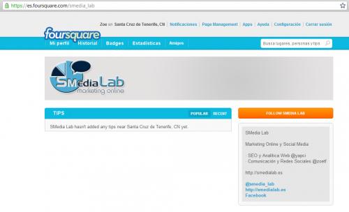 Smedialab en Foursquare
