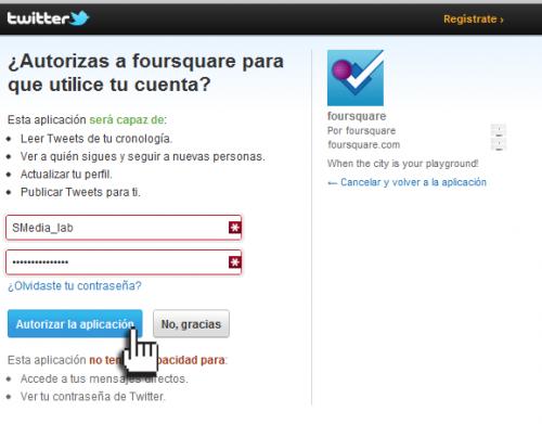 Empresas FourSquare - Autorización del uso en nuestra cuenta de Twitter