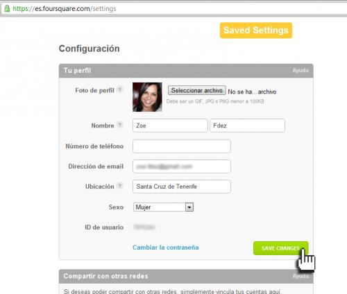 Empresas FourSquare -Comprobación de la configuración personal de Foursquare