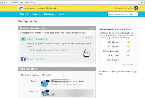 Optimización del perfil de empresa en Foursquare